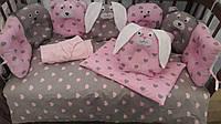 """Роскошное детское постельное белье """"Лесные друзья"""" для девочки (сердечки, розовый/серый)"""
