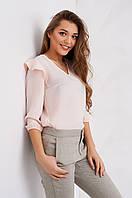Молодежная нежная блузка персикового цвета с рюшами на рукавах
