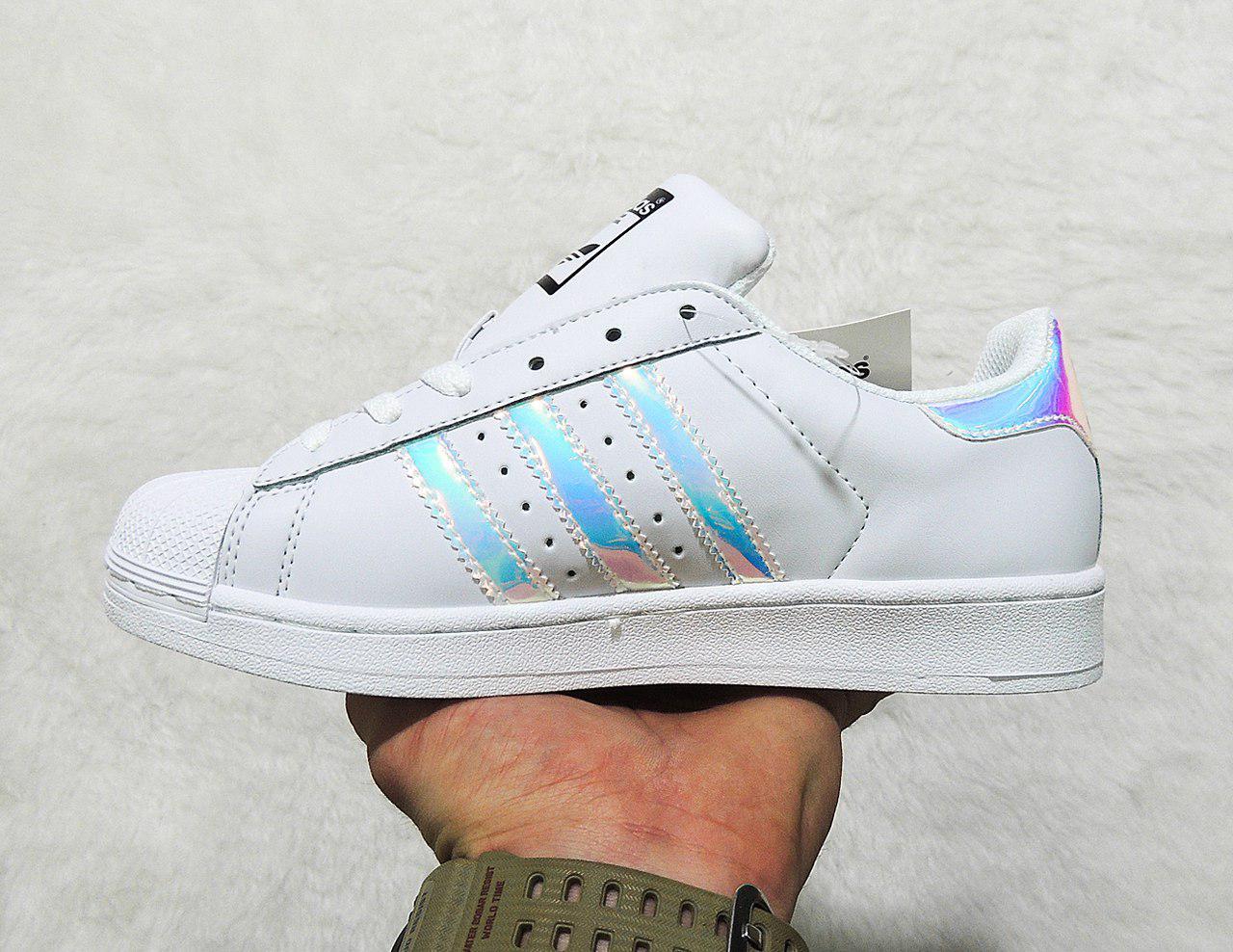 Кроссовки женские Adidas Superstar Holographic White топ реплика