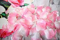 Искусственные лепестки роз. Бело-Розовые лепестки роз. Шелковые лепестки.