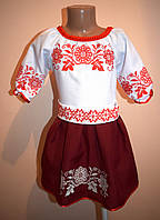 """Плаття з вишивкою дитяче """"Тая"""" марсала"""