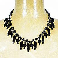 Ожерелье из чёрного агата с подвесками разной формы, длина 60см Код: 653648297