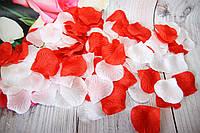 Искусственные лепестки роз. Бело-Красные лепестки роз. Шелковые лепестки.