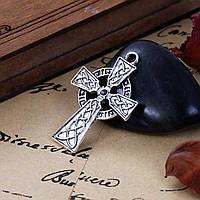 Подвеска Крест, Цинковый сплав, Кельтские узлы, Античное серебро, Для cтраз - ss10 , 4.1 см x 2.7 см