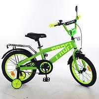 Велосипед двухколёсный детский 14 дюймов Profi Flash, зеленый