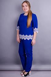 Женский костюм больших розмеров цвет електрик  размер 50, 52, 54, 56 габардин кружево