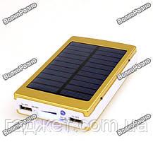Solar power bank 30000 mAh,зарядка на солнечной батареи золотого цвета. Повербанк., фото 3