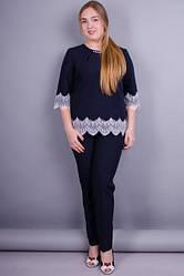 Женский костюм больших розмеров цвет синий  размер 50, 52, 54, 56 габардин кружево