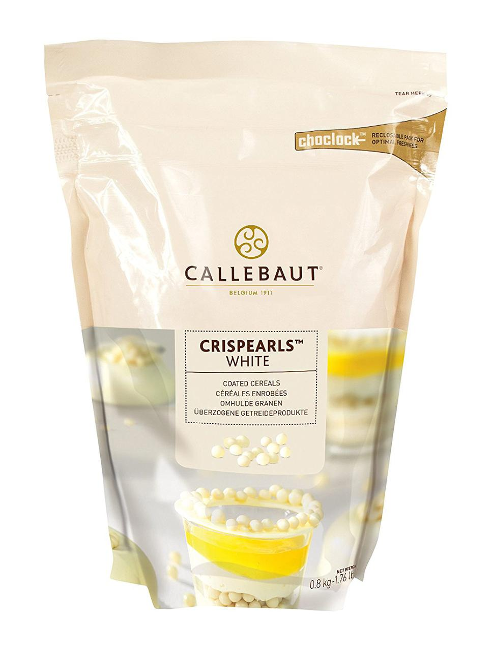 Callebaut White Chocolate Crispearls Шоколадні драже з білого шоколаду Пакет 0,8 кг.
