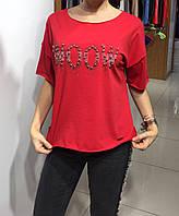 Летняя женская турецкая футболка с надписью WOOW