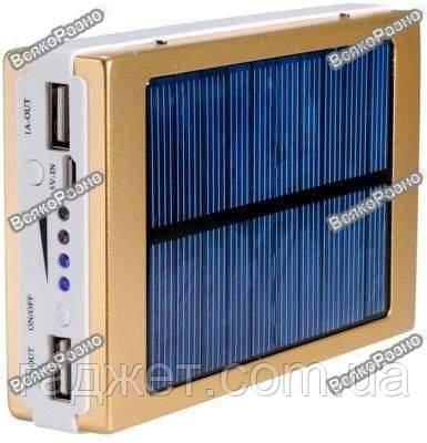 Solar power bank 30000 mAh,зарядка на солнечной батареи золотого цвета. Повербанк.