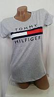 Женская футболка лето Tommy SML (цвет светло-серый) Турция оптом