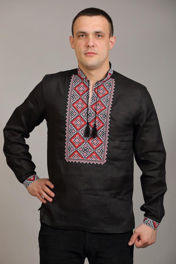 06e0444afae4 Мужская вышиванка черного цвета с красной вышивкой В-МС-3306 -