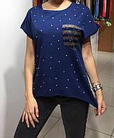 Летняя женская турецкая футболка украшенная камнями, фото 1