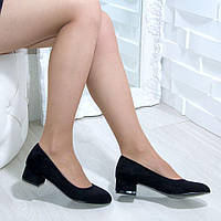 Туфли женские замшевые на низком каблуке