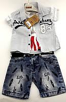 Детские костюмы 1, 2, 3 года Турция летний с шортами джинсовый для мальчиков серый (КД21)
