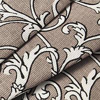 Ткань для скатерти рогожка Завиток серый