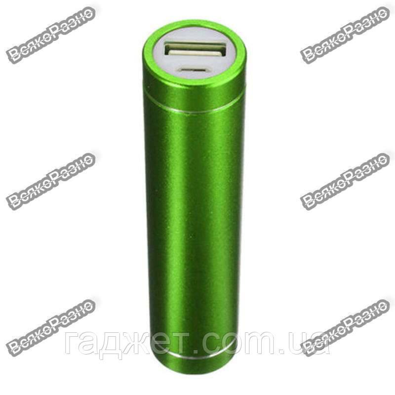 Мини аккумулятор Power Bank 2600 mAh - повербанк зеленого цвета.