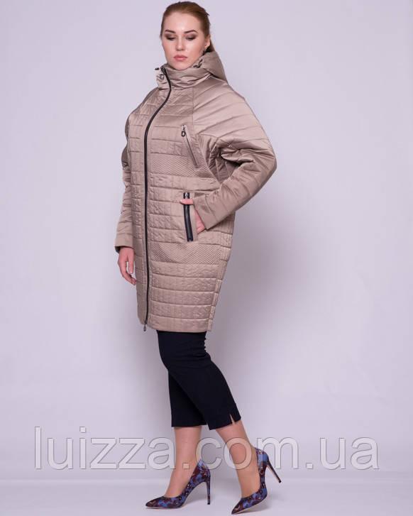 Женская стеганая куртка с рукавом летучая мышка 48-56р беж 56