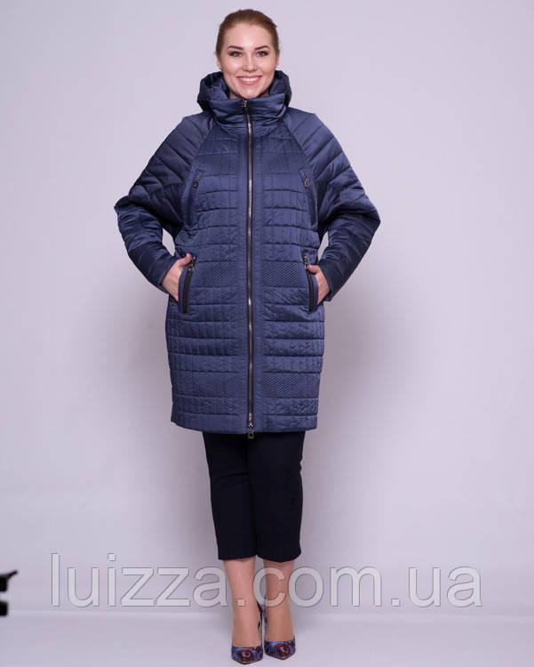 Женская стеганая куртка с рукавом летучая мышка 48-56р синий 50