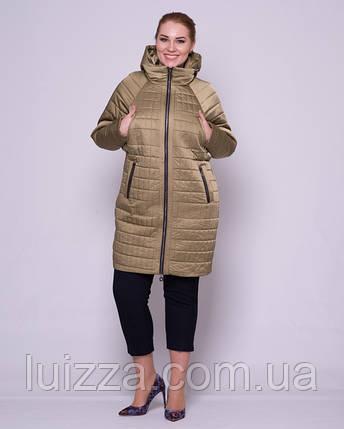 Женская стеганая куртка с рукавом летучая мышка 48-56р оливка 52, фото 2