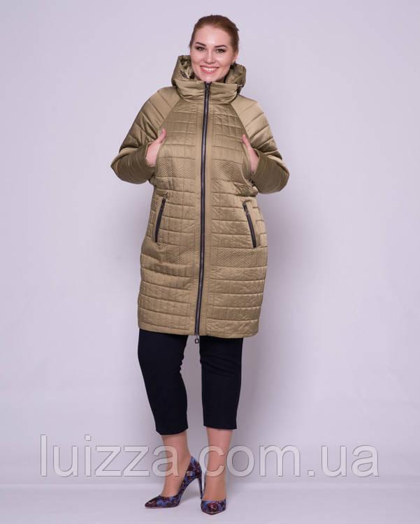 Женская стеганая куртка с рукавом летучая мышка 48-56р оливка 52