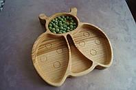 Детская деревянная тарелочка в виде жучка