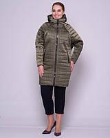 Женская стеганая куртка с рукавом летучая мышка 48-56р хаки