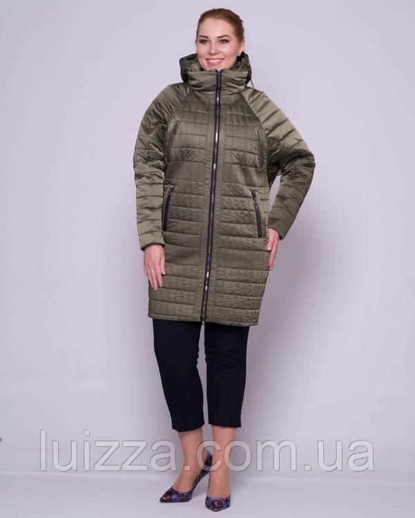 Женская стеганая куртка с рукавом летучая мышка 48-56р хаки 50