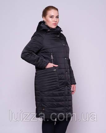 Женская стеганая куртка из атласа 46-58р  черный 46, фото 2