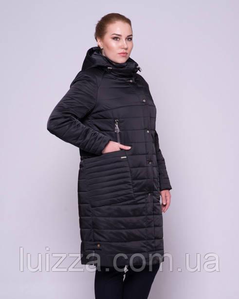 Женская стеганая куртка из атласа 46-58р  черный 46