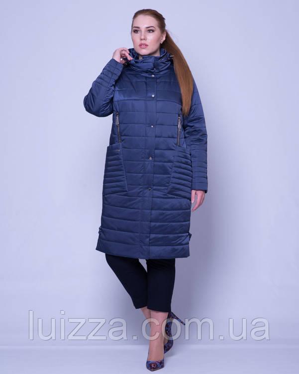 Женская стеганая куртка из атласа 46-58р синий 52