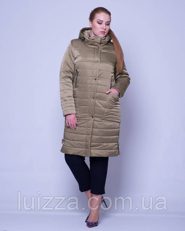 Женская стеганая куртка из атласа 46-58р оливка 48