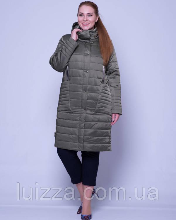 Женская стеганая куртка из атласа 46-58р хаки 46