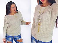 Женский свитер - вязка, летучая мышь, Claretta, 4864