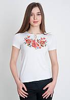 Белая женская футболка с красной вышивкой, арт. 5124 к.р.