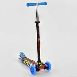 """Самокат А 24647 / 779-1392 MAXI """"Best Scooter"""" сині 4 колеса PU. СВІТЛО, d=12см"""
