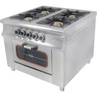 Плита 4-х конфорочная с духовым шкафом и газовым контроллером Pimak МО15-4 (40х40)