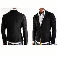 Пиджак Мужской Чёрный с красными подкладками карманов Стильный современный дизайн приталенный силуэт