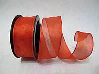 Лента с проволочным краем 2.5 см Красная