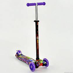 "Самокат А 24646 / 779-1390 MAXI ""Best Scooter"" Фіолетовий 4 колеса PU. СВІТЛО, d=12см"