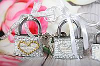 Серебристый свадебный замочек. Замок для влюбленных. Замочек любви., фото 1
