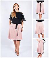 Теплая трикотажная женская юбка в клетку. 46-58