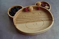 Детская деревянная тарелочка в виде мишки 2