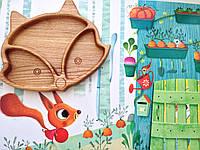 Детская деревянная тарелочка в виде лисички