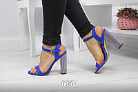 "Босоножки, туфли, сандали, сабо женские синие ""Suspi"" эко замша на каблуке, повседневная, летняя обувь"