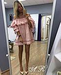 Женское стильное платье коттон х/б с воланами и сеткой (2 цвета), фото 5