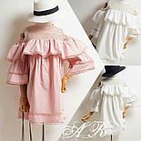 Женское стильное платье коттон х/б с воланами и сеткой (2 цвета), фото 2