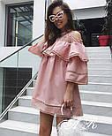 Женское стильное платье коттон х/б с воланами и сеткой (2 цвета), фото 3