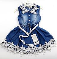 Джинсовое платье с кружевом на девочку на 2, 3, 4 лет